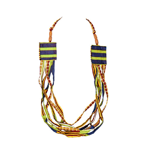 Jide Gear Green Strings Ankara Necklace