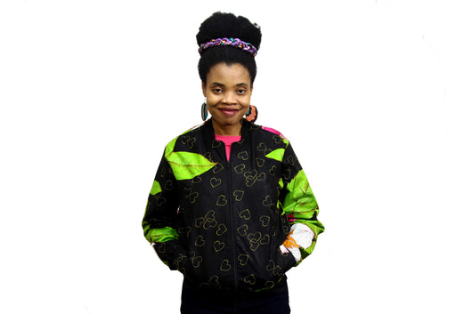 Jide Gear Heartfloral Ankara Female Bomber Jacket Front