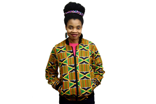 Jide Gear Jagged Kente Female Bomber Jacket Front