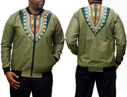 Dashiki Lime Green Men's Bomber Jacket