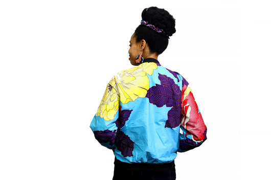 Jide Gear Multifloral Ankara Female Bomber Jacket Back