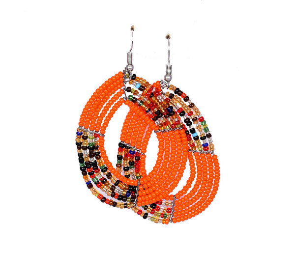 Jide Gear Orange Multicolor Beaded Earrings