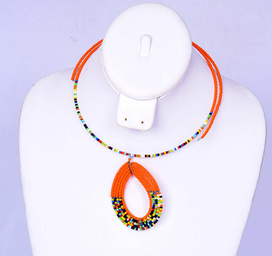 Jide Gear Orange Multicolor Beaded Necklace