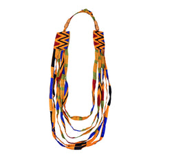 Jide Gear Orange Strings Ankara Necklace