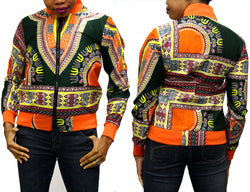 Orange Rim Dashiki Women's Jogger Top with BLACK ZIPPER
