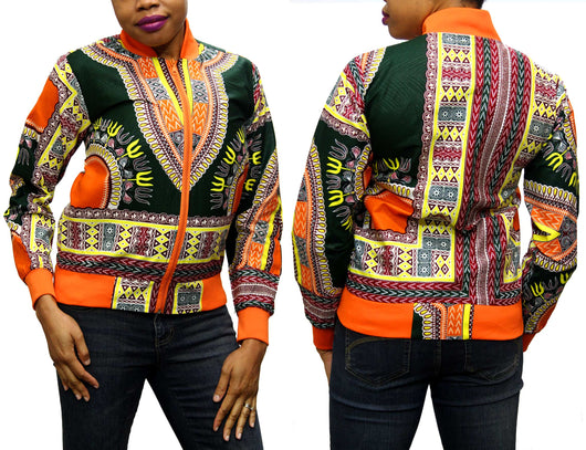 Orange Rim Dashiki Women's Jogger Top with ORANGE ZIPPER