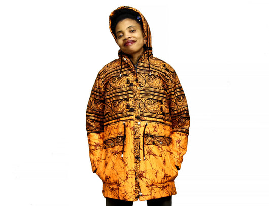 Jide Gear Orangegroove Batik Women's Winter Jacket Front