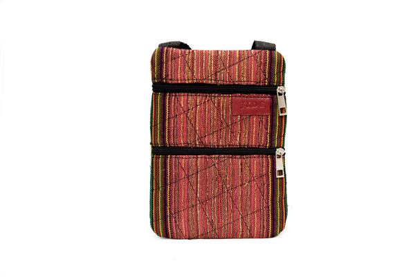 Jide Gear Darkpink Slim Crossbody Aso Oke Pouch Front