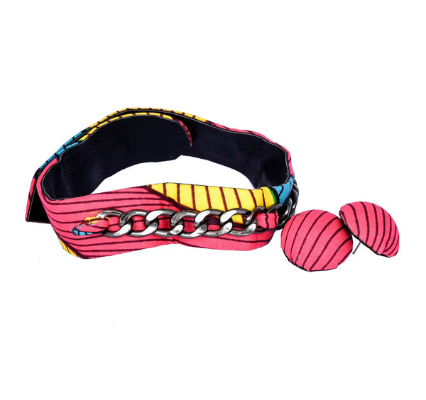 Jide Gear Pinkstroke Ankara Choker Pink Button Earrings