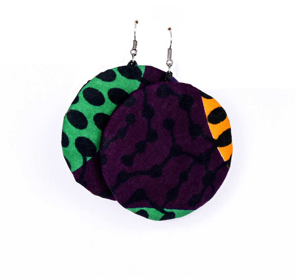 Jide Gear Purple Vine Ankara Earring
