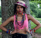 Jide Gear Strings Ankara Necklace Model