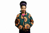 Jide Gear Sunflower Ankara Female Bomber Jacket Front