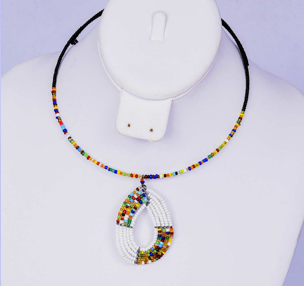Jide Gear White Multicolor Beaded Necklace