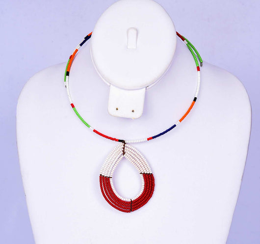 Jide Gear White Red Multicolor Beaded Necklace