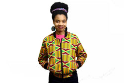 Jide Gear X Kente Female Bomber Jacket Front