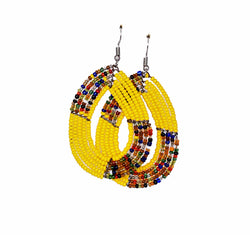 Jide Gear Yellow Multicolor Beaded Earrings