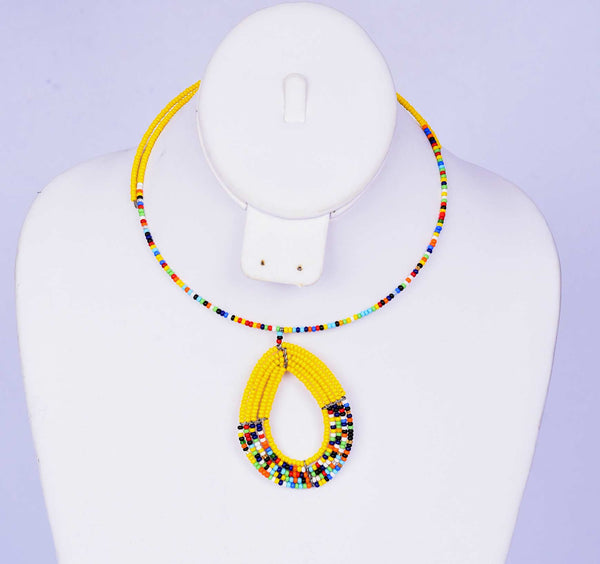 Yellow Multicolor Beaded Neclkace
