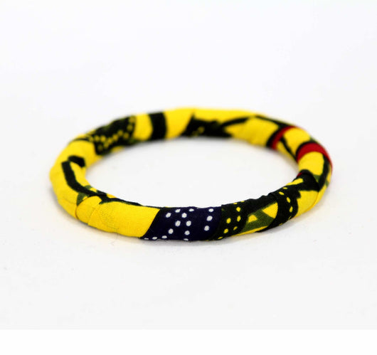 Jide Gear Yellow Slim Ankara Bangle