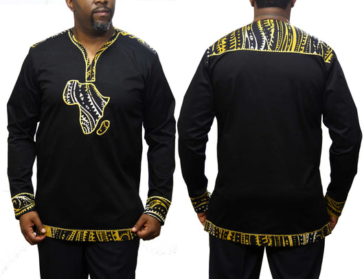 Yellowgroove African Map Native Shirt Long Sleeve Black
