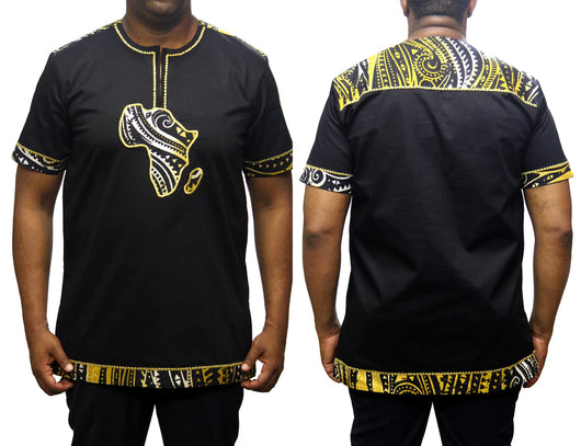 Yellowgroove African Map Native Shirt Short Sleeve Black