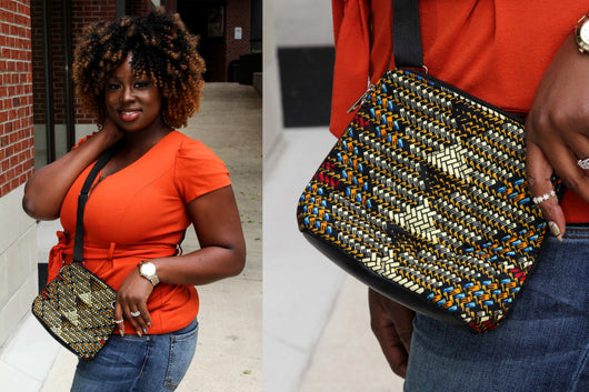 Mat Bucket Ankara Crossbody Purse