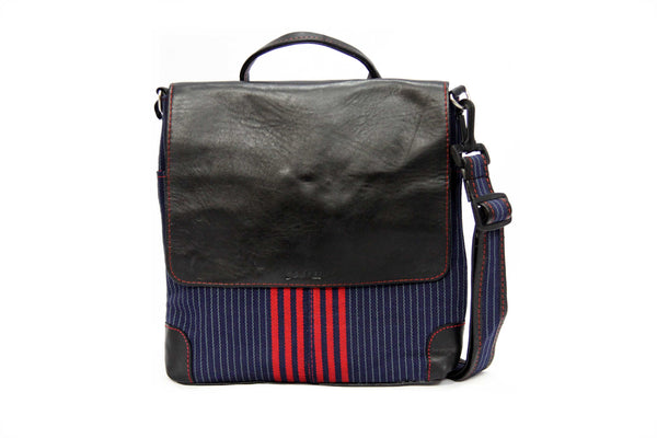 Redstripe Crossbody Aso Oke Bag Front