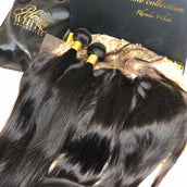 Peruvian Silky Straight Bundles + Frontal