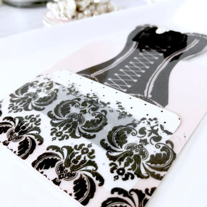 Couture Corset Bookmark with Swarovski crystal, Bows, and Charm