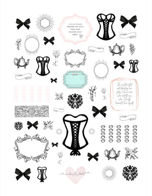 Noir Couture Deco Sticker Set with cut file - Silhouette users only