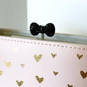 Black Sparkly Bow Button Page Clip