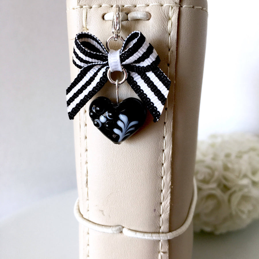 Chic Black Heart Lampwork Bead and Mini Bow Charm