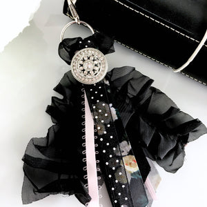 Black Chiffon and Satin Ribbon Tassel