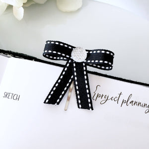 Chic Black Sparkly Bow Page Clip