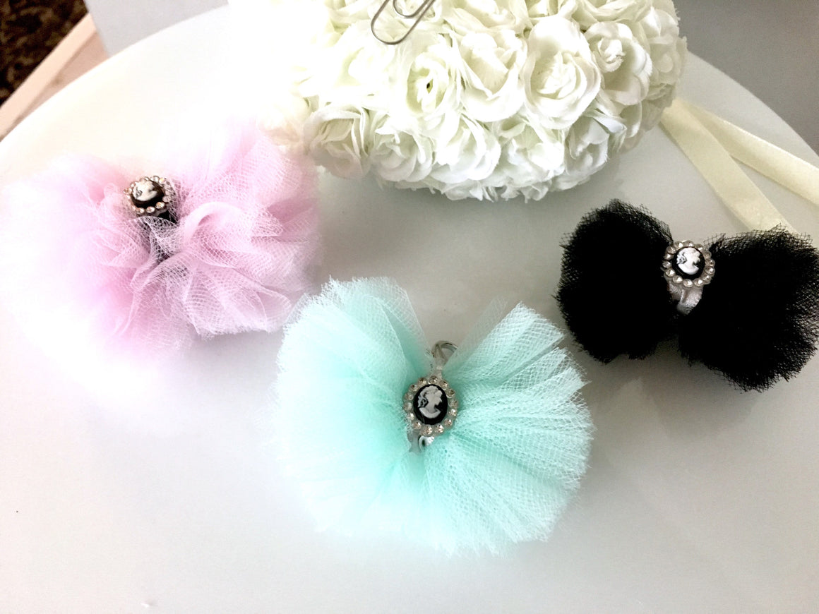 Soft Tulle Bow Cameo Charm *CUSTOM*