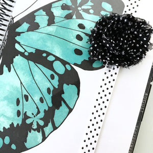 Shabby Chic Vintage Black and White Polka Dot Planner Band
