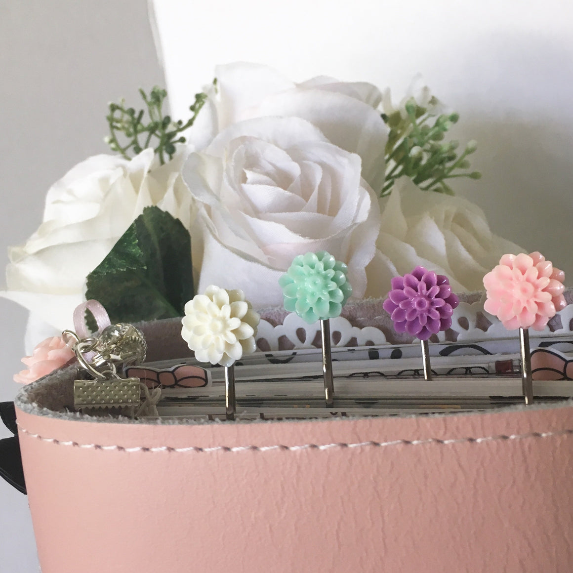 Stunning Set of 4 Vintage Dahlia Page Clips
