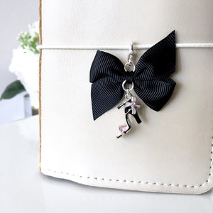 Chic Pink and Black Heel Charm with Bow