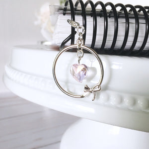 Shiny Silver Circle with Bow and Heart Accent