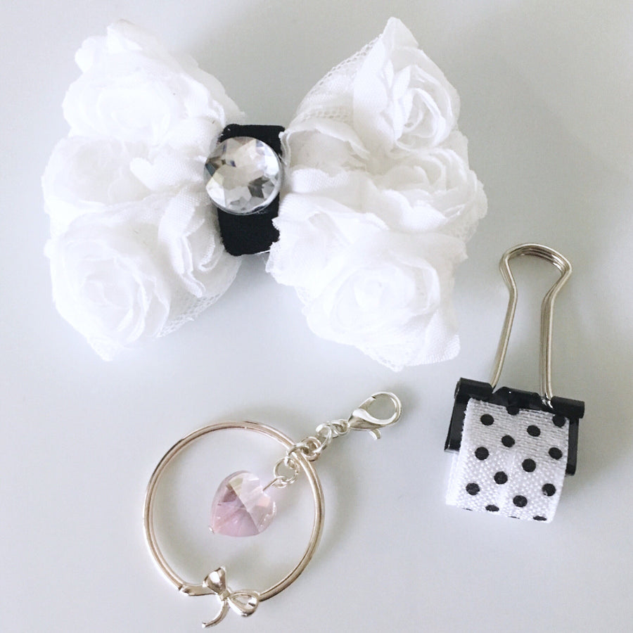 Pretty Pink or White Rose Chiffon Charm Set
