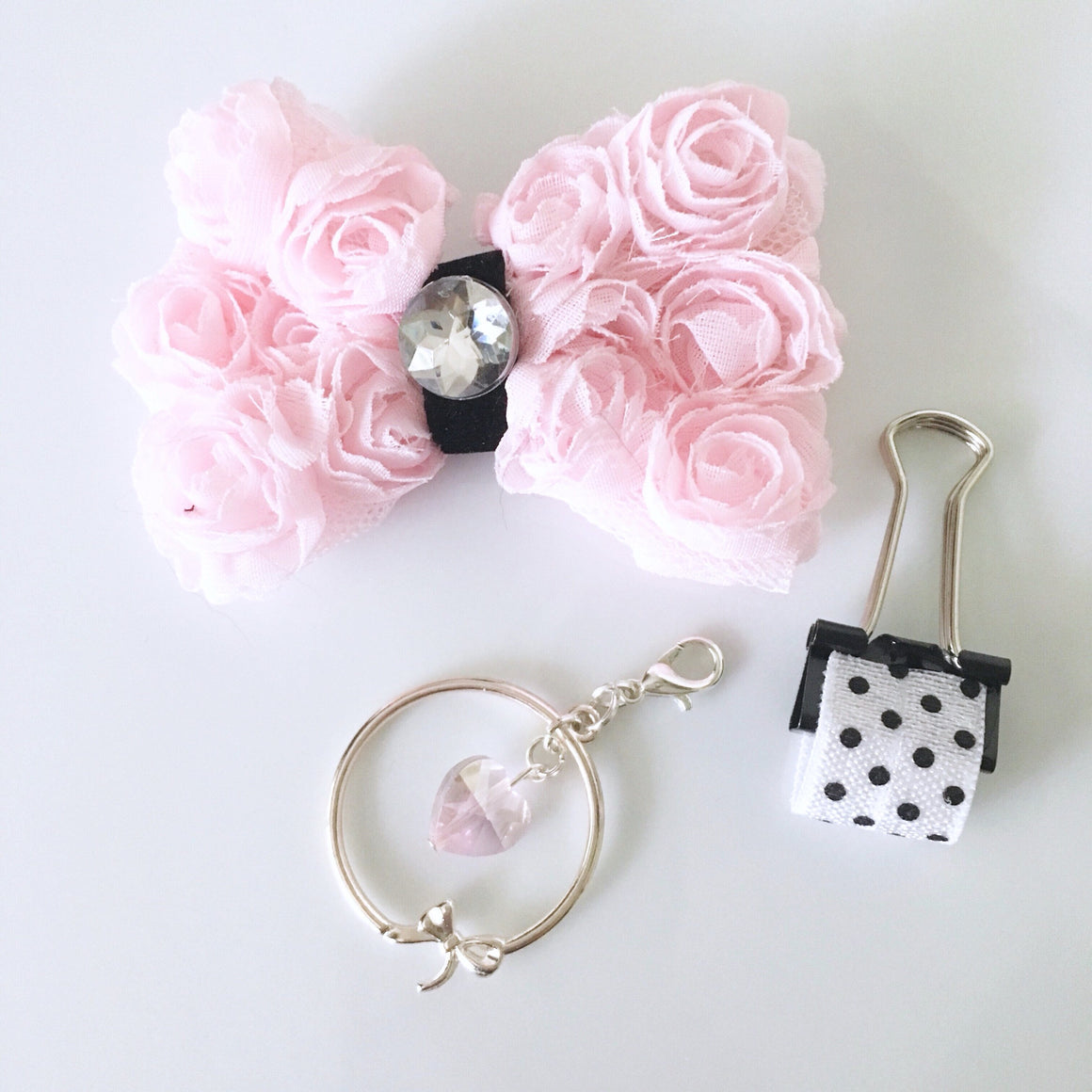 Pretty Rose Chiffon Charm Set of 3
