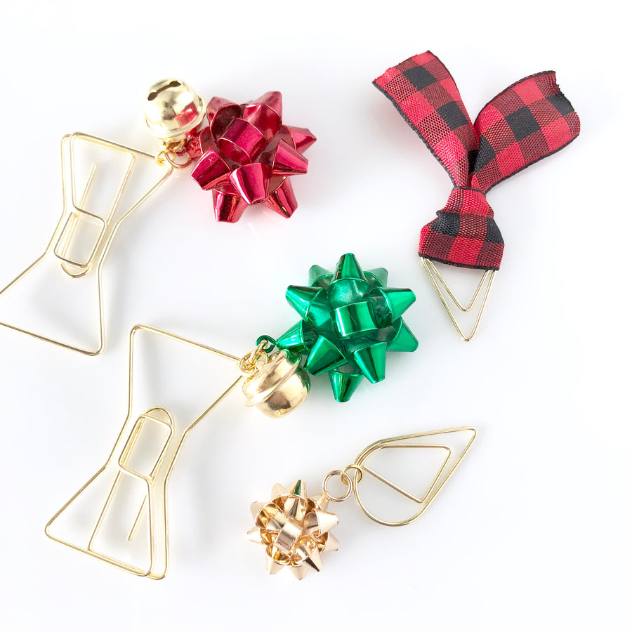 Bows On Bows Set of 3 Dangle Clips With FREE Buffalo Plaid Clip