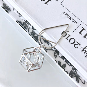 FREE WITH ANY PURCHASE! Chic Silver Cage Dangle with Sparkly Jewel *LIMITED EDITION*