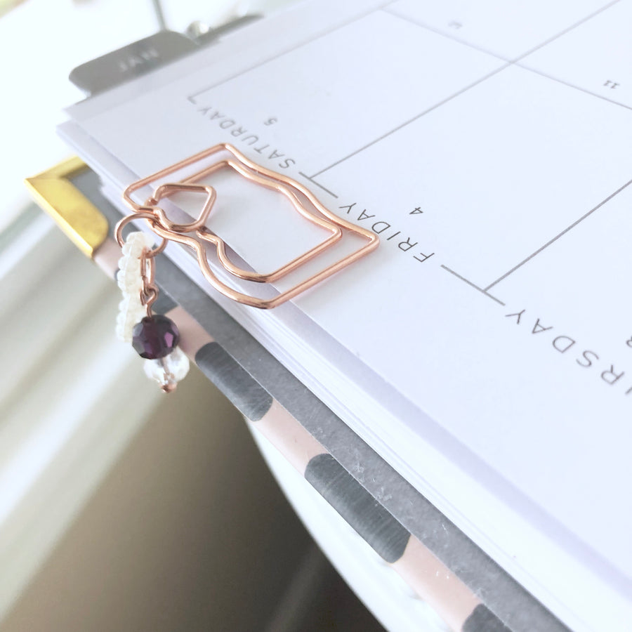 Beautiful Rose Gold Tiny Planner Clip With Accessories