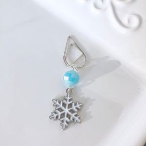 Beautiful Enamel Snowflake Dangle Clip