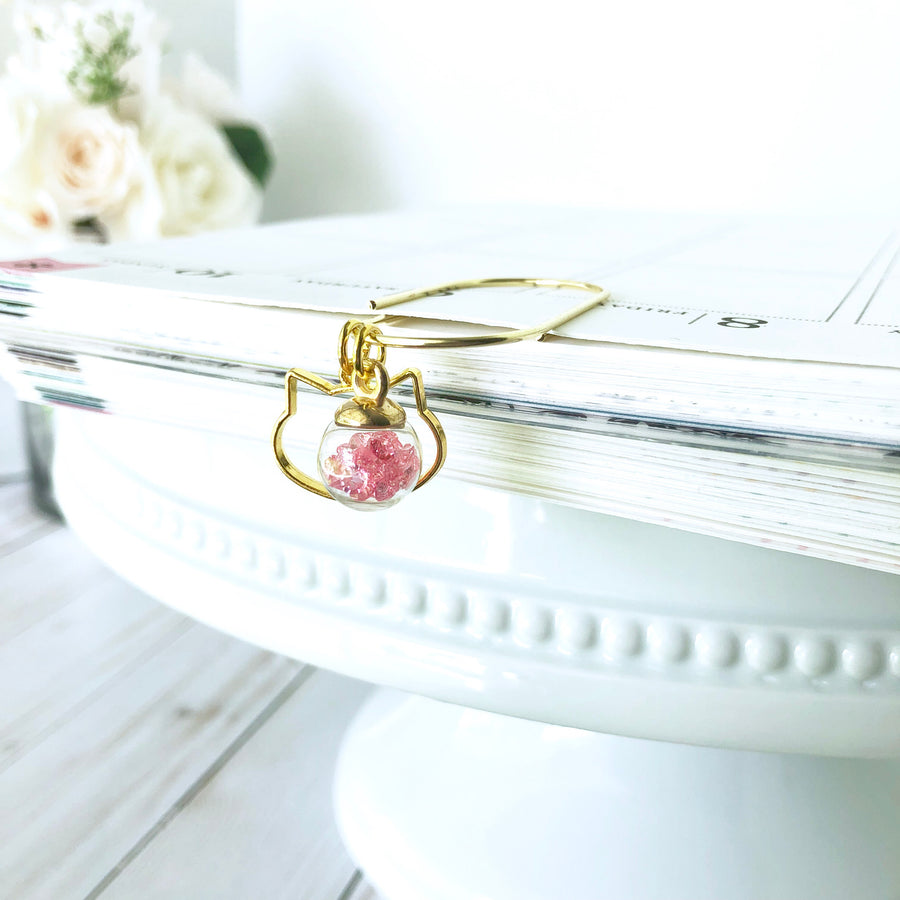 Pretty Pink Jewel Filled Ball and Gold Accent Charm Dangle