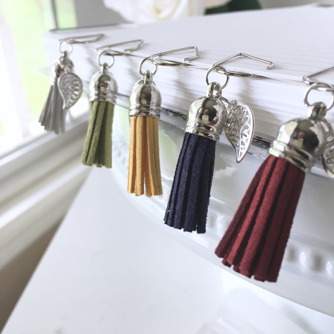 Faux Suede Tassel and Silver Leaf Dangle
