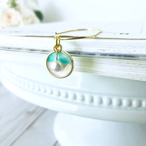 Gorgeous Aqua Pearlized Enamel Dangle Charm