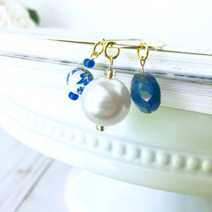 Classic Royal Blue and White Triple Bead Dangle