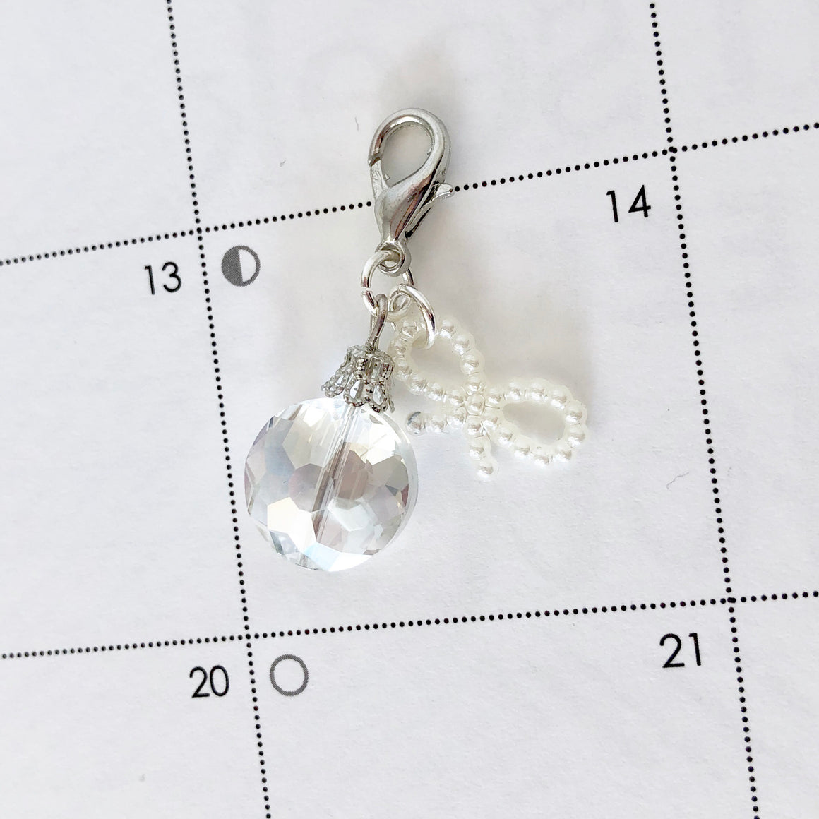 Pretty Crystal Drop Clip Charm with Bow