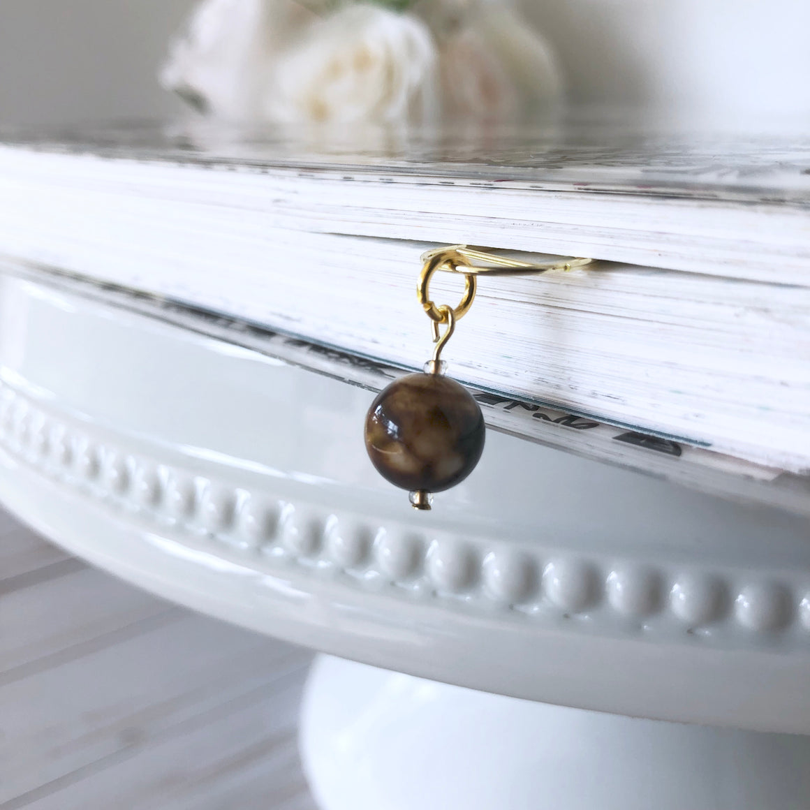 Beautiful Smooth Marbled Chocolate Stone Gold Dangle Clip